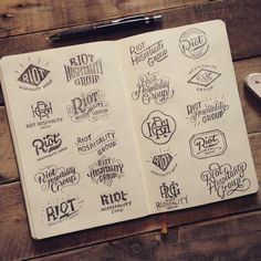 """1 of 2 sketchbook spreads full of logo ideas for @riothospitalitygroup Have a…"