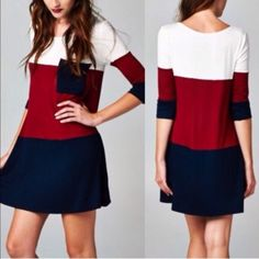"Color Block Tunic Dress Cute dress! Brand new with tag. 95% rayon and 5% spandex. It have pocket on front. Colors are Ivory/Burgundy/navy. Size Large(10-12). Measurement laying flat: bust: 20"" length: 32"" Boutique Dresses Midi"