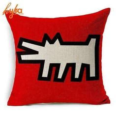 Kingla Home Square Cotton Linen Decorative Throw Pillow Covers 18 X 18 Inch Keith Haring's Graffiti-Art Printing Pillowcase Zippered Couch Cushion Covers Sofa Throw Pillows, Linen Pillows, Throw Pillow Cases, Cushions On Sofa, Cover Pillow, Couch Sofa, Custom Pillow Cases, Decorative Pillow Covers, Custom Pillows