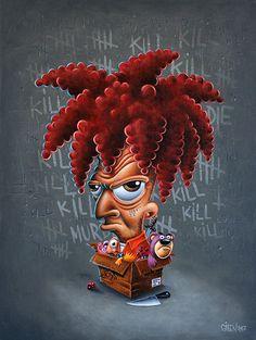 Die - 61 x 46 cm - Acrylique sur toile - Gilen - 2017 #gilen #gilenbousquet #painting #lowbrow #popart #popculture #toonart #diebartdie #thesimpson #dirtybastard #simpsons #bart #kill #die #murder #toys #toonart #beautifulbizarre #creepyart #tahitibob #art #contemporaryart #vilains #villain #memepaspeur