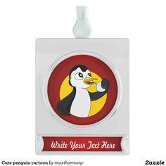 Cute penguin cartoon silver plated banner ornament