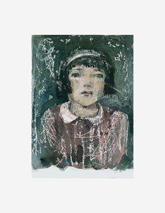 art print, figurative, GIRL  in PINK, portrait.
