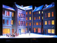 A model for La Boheme, Set Design by Lauren Madden and Lighting Design by Derek Heckler.