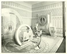 A room by designer Carlo Bugatti at the Turin Exposition of 1902 Art Nouveau Interior, Art Nouveau Furniture, Furniture Design, Studio Furniture, Bugatti, Italian Furniture, Unusual Furniture, Victorian Life, Aesthetic Movement
