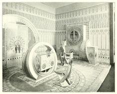 A room by designer Carlo Bugatti at the Turin Exposition of 1902 Art Nouveau Interior, Art Nouveau Furniture, Furniture Design, Studio Furniture, Bugatti, Italian Furniture, Unusual Furniture, Vienna Secession, Victorian Life