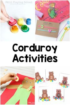 Corduroy book activities for every subject - literacy alphabet math writing sensory movement crafts and snacks! Preschool Literacy, Preschool Books, Preschool Lessons, Toddler Preschool, Toddler Activities, Preschool Activities, Kindergarten Reading, Early Learning, Early Childhood Education