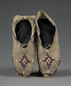 Apache Beaded Hide Mocassins, (2007, American Indian and Western Art, Sept 15)
