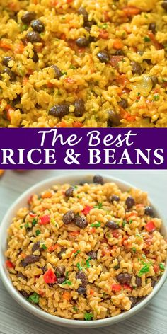 rice recipes This is THE ONLY Rice and Beans recipe youll ever need! Made with simple ingredients, this dish is filling and very tasty. Tasty Vegetarian Recipes, Vegan Dinner Recipes, Veggie Recipes, Whole Food Recipes, Chicken Recipes, Cooking Recipes, Healthy Recipes, Vegan Vegetarian, Vegan Bean Recipes