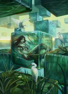 "Slumbering Naiad by Julie Dillon \ ""This is a piece for my Imagined Realms project. Please support the project on kickstarter if you like the artwork."" https://www.kickstarter.com/projects/juliedillon/imagined-realms-book-1-new-fantasy-art-by-julie-di"