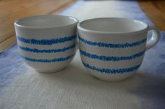Hand-Painted Coffee Cups / Set of 2 / Blue Line Pattern on Ceramic Coffee Mug / White Kitchen Home Decor by 7thStreetHaven on Etsy