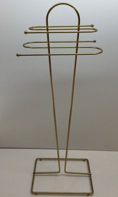 Mid Century Brass Wired Towel Rack Stand  35.5 Tall , 12 X 9 Base Large Art Deco