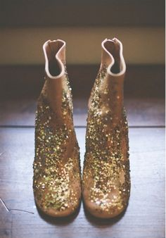 new years inspiration gold glitter boots