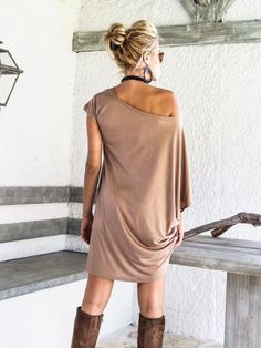 Taupe Asymmetric Dress  Blouse  Tunic / Plus Size Dress /