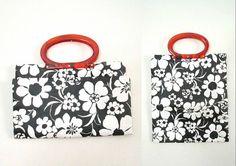 Black & White Vinyl Tote Handbag Mid Century by looseendsvintage