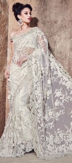 Off White designer floral embroidered unique party wear saree in net Lace Saree, Net Saree, Saree Dress, Saree Blouse, Indian Designer Sarees, Latest Designer Sarees, Indian Sarees, Latest Sarees, Churidar