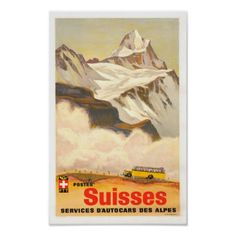 Swiss Alps Vintage Travel Poster