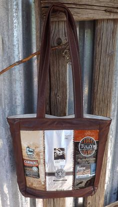 Elegant Leather UpCycled Coffee Bag Purse by 2OldBagsUpcycling