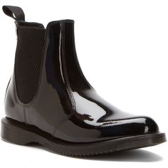 Dr. Martens Women's Faun Chelsea Boot Boots (£85) ❤ liked on Polyvore featuring shoes, boots, ankle boots, black patent lamper, beatle boots, black slip on shoes, black bootie, pull on boots and short heel boots