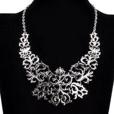 Fashion Retro Silver Tone Chain Flower Vine Hollow Adjustable Bib Pendant Necklace