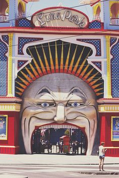Luna Park, Melbourne - Australia had an old fashioned wooden roller coaster Perth, Brisbane, Melbourne Australia, Australia Travel, Melbourne Victoria, Victoria Australia, Dark Circus, Around The World In 80 Days, Abandoned Amusement Parks
