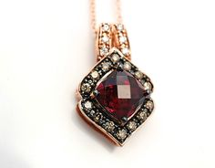 LeVian Rhodolite Garnet Chocolate Diamond Pendant Necklace 14k Rose Gold New | eBay