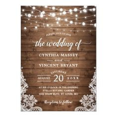 Rustic Wood Twinkle String Lights Lace Wedding Invitation   Zazzle.com Lace Wedding Invitations, Christmas Party Invitations, First Birthday Invitations, Rustic Invitations, Baby First Birthday, Baby Shower Invitations, Birthday Fun, Winter Birthday, Wedding Card
