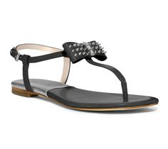 MICHAEL Michael Kors Black Devin Thong Sandals with Studded Bow