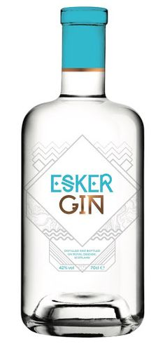 Esker Gin - Kincardine O'Neil, Royal Deeside. Botanicals: juniper, pink peppercorn, cassia, eather, citrus, milk thistle, rosehip, silver birch sap. Recommended garnish: orange peel.