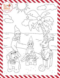 elf on the shelf coloring page  elf on a shelf ideas