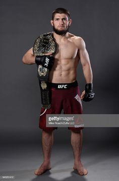 Khabib Nurmagomedov of Russia poses for a portrait backstage after his victory over Al Iaquinta during the UFC 223 event inside Barclays Center on April 2018 in Brooklyn, New York. Bare Knuckle Boxing, Male Boxers, Mma Fighting, Combat Training, Martial Arts Training, Ufc Fighters, Mma Boxing, Beard Styles For Men, Training Motivation