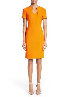 St. John Collection Ribbon Texture Knit Dress #affiliatelink #kibbe #davidkibbe #dc #kibbedc #dramaticclassic #kibbedramaticclassic #fw2017 #stjohn #orange #marigold #sheathdress