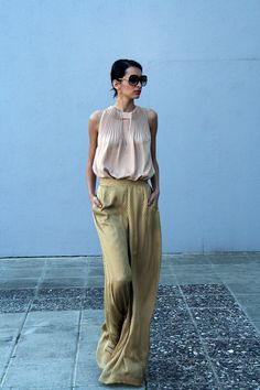 Sheer silk top with pleated neckline by Diane Von Furstenberg and Culottes by Jonathan Saunders.