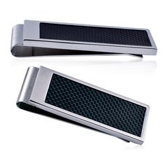 Stainless steel Money Clip featuring a sleek black carbon inlay on the front.