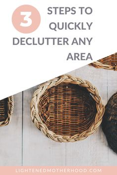 Sometimes, we have spots in our homes that drive us crazy with clutter, but we have such little time to sort through it all. If you're just starting out on your minimalist journey, it also helps to be able to knock out an area in just a few minutes to get a quick win. In this post, I'm going to go over my step by step process on how to quickly declutter any area of your home. #decluttering #minimalism #simplify #simpleliving Kitchen Organisation, Organization, Declutter Your Life, Slow Living, Minimalist Living, Simple Living, Self Development, Wicker Baskets, Healthy Life