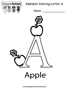 Letter A Coloring Worksheet - Free Kindergarten English Worksheet for Kids