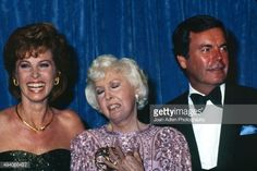 Actress Stefanie Powers and actor Robert Wagner present actress Barbara Stanwyck with award for Outstanding Lead Actress in a Limited Series or Special - The Thorn Birds, at the 35th Annual Primetime Emmy Awards held at the Pasadena Civic Auditorium on September 25, 1983 in Pasadena, California. (Photo by Joan Adlen/Getty Images)