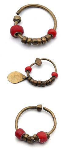 Africa | Brass and glass bead earrings from Sudan | 19th century