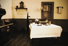 Rural 1800's Kitchen  Notice the Water Pump against the wall?