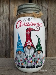 Gnomes, Merry Christmas Gnomes, Painted Mason Jar, Christmas Mason Jar – Crafts – Famous Last Words Christmas Mason Jars, Christmas Gnome, Christmas Rock, Diy Christmas Gifts, Merry Christmas, Christmas Glasses, Christmas Projects, Christmas Stuff, Christmas Decorations