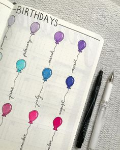 Spice up that boring birthday bullet journal layout with some colorful balloons.   [Photo credit: Sara @teaandbujo]  #BulletJournal #BuJoSetup #Collection #LayoutsToAddToYourBuJo #Birthday #January