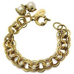 Alcozer & J Brass & Glass Pearls Bracelet ($252) ❤ liked on Polyvore