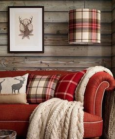 Red & plaid living room, cabin