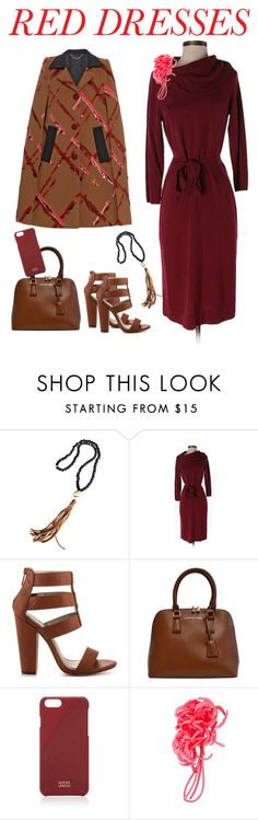 """""""red dress and camel accessories"""" by junemedialab on Polyvore featuring Jonesy Wood Designs, The Limited, Michael Antonio, Adrienne Vittadini, Native Union, P.A.R.O.S.H., Marc Jacobs, women's clothing, women and female"""