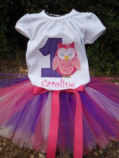 So cute !! Pink and purple tutu dress !! Personalize Owl Bloom Birthday Tee