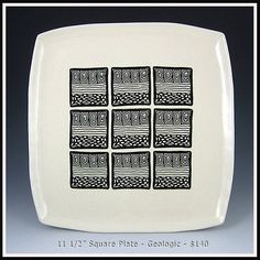 Square Plate Faith Rahill 2 Polymer Clay Canes, Polymer Clay Earrings, Square Plates, Clay Ideas, Ceramic Plates, Trays, Stamps, Projects To Try, Surface