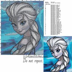 Elsa's portrait disney frozen free cross stitch pattern 100x126 40 colors