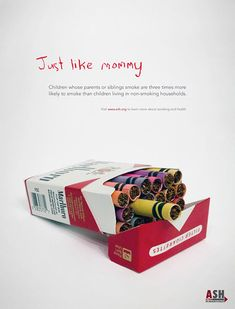 Threatening anti-smoking ad highlighting the dangers of how easily children mimic the harmful behaviors modeled from their parents, in this case, smoking cigarettes. Great use of object association too. Creative Advertising, Ads Creative, Creative Posters, Print Advertising, Advertising Campaign, Street Marketing, Guerilla Marketing, Marketing Tools, Smoking Campaigns