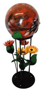 Steven Cooper Metalsmith AGAZBALL-M-Red 12-Inch Red Gazing Ball on 25-Inch High Base with Assorted Orange Flowers Unusual Things, Orange Flowers, Metal Art, Outdoor Gardens, Base, Make It Yourself, Outdoor Decor, Red, Design