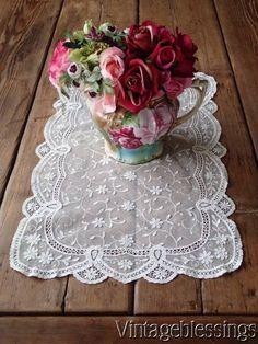 "Exquisite Antique Princess Lace Tray Cloth 24x14"" Bridal French Net www.Vintageblessings.com"