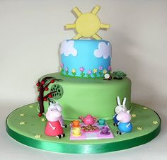 https://flic.kr/p/6BTsA5 | Peppa Pig Birthday Cake | This is my daughter Katie's Birthday cake, she will be 3 on Tuesday.  Katie LOVES Peppa Pig and practically wanted every character in the programme on the cake.  So I told her she could have four of the little characters… so she chose Peppa Pig and George, Susie sheep and Richard rabbit.  I really don't like the finish on this cake as we had very hot and humid weather… which meant rather sticky fondant… and I just couldn't seem to smooth…